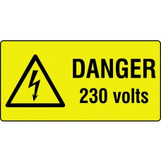 Danger 230 volts - Labels (50 x 25mm Roll of 250)