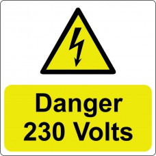 Danger 230 Volts - 100 Roll SAV (75 x 75mm)