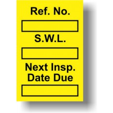 Safe Working Load Mini Tag Insert - Yellow (Pack of 20)