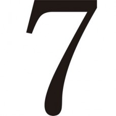 51mm Black Traditional Oldstyle Font Vinyl Number 7   (Pack of 10)