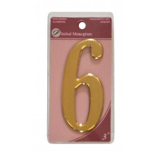 """3"""" Gold Effect Numeral 6"""