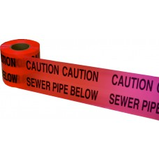 Underground Tape 150mm x 365mtrs Sewer pipe below