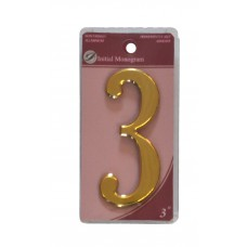 """3"""" Gold Effect Numeral 3"""