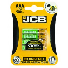 JCB - Rechargeable Batteries - 900mAh AAA  x 4