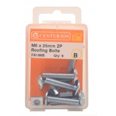 M6 x 25mm ZP Roofing Bolts  (Pack of 6)