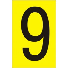 75mm Yellow Vinyl - Character '9'   (Pack of 10)