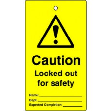 Lockout tags - Caution Locked out for safety (Single sided 10 pack)