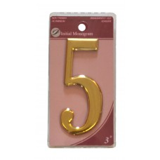 """3"""" Gold Effect Numeral 5"""