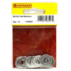 M8 SS Flat Washers (Pack of 12)