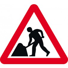 Road works - Classic Roll up traffic sign (750mm Tri)