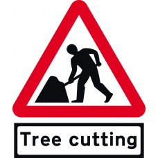 Road works & Tree Cutting Supp plate - Classic Roll up traffic sign (600mm Tri)