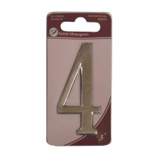 """3"""" Silver Effect Numeral 4"""