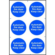 Automatic fire door Keep clear - PVC (200 x 300mm)