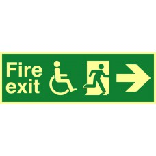 Disabled fire exit man running arrow right - PHS (450 x 150mm)